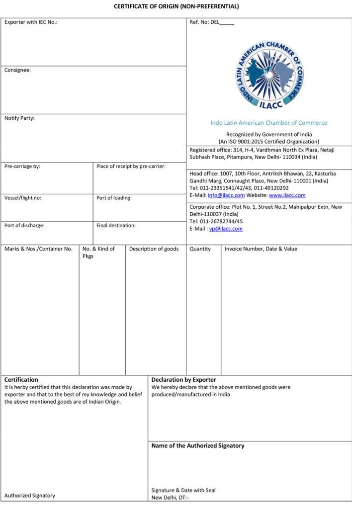 certificate of origin non preferential indo latin american
